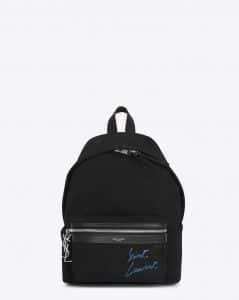 Saint Laurent Black/Blue Diagonal Canvas Embroidered Mini City Backpack Bag