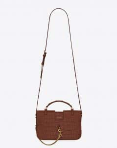 Saint Laurent Cognac Crocodile Embossed Matte Medium Charlotte Messenger Bag