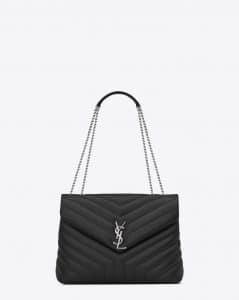 Saint Laurent Graphite Y Matelasse Medium Loulou Chain Bag