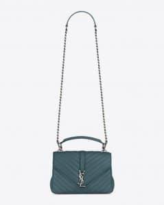 Saint Laurent Green Matelasse Medium College Bag