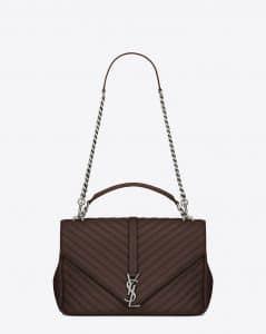 Saint Laurent Hazelnut Matelasse Large College Bag