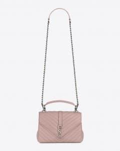 Saint Laurent Powder Pink Matelasse Medium College Bag