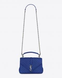 Saint Laurent Royal Blue Matelasse Medium College Bag