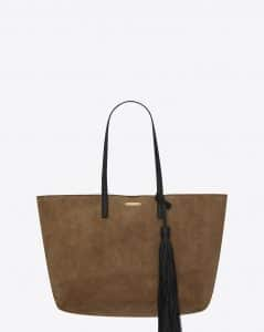 Saint Laurent Taupe Suede with Leather Tassel Large Shopping Bag