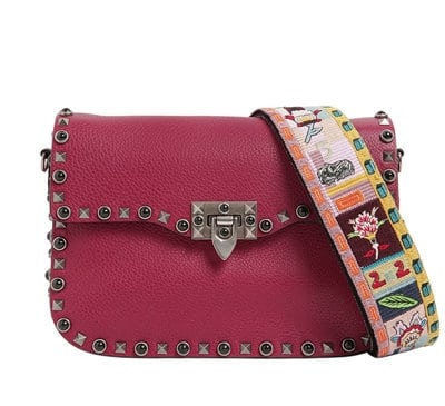 Valentino Rockstud Rolling with Embroidered Strap