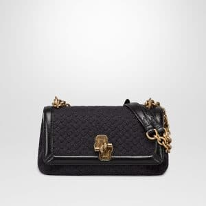 Bottega Veneta Anthracite Intrecciato Knit Olimpia Knot Bag