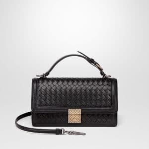 Bottega Veneta Black Intrecciato Nappa Top Handle Bag