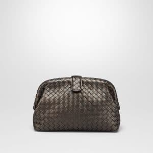 Bottega Veneta Dark Bronze Intrecciato Nappa The Lauren 1980 Clutch Bag