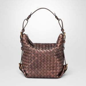 Bottega Veneta Dark Copper Intrecciato Nappa Shoulder Bag