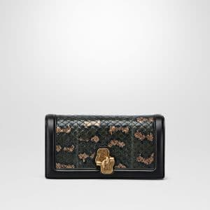 Bottega Veneta Intense Moss Karung Knot Clutch Bag