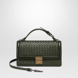 Bottega Veneta Moss Intrecciato Nappa Top Handle Bag
