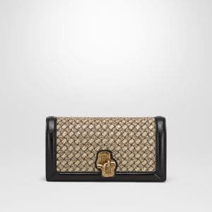 Bottega Veneta Oro Bruciato Intrecciato Knit Knot Clutch Bag