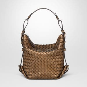 Bottega Veneta Oro Scuro Intrecciato Nappa Shoulder Bag