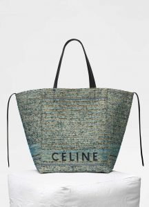 Celine Blue Celine Boucle Fabric Medium Cabas Phantom Bag