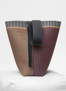 Celine Multicolour Woven Textile Small Twisted Cabas Bag