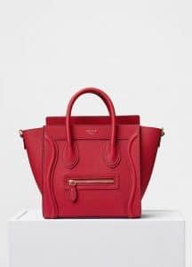 Celine Red Baby Drummed Calfskin Nano Luggage Bag