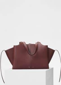 Celine Red Wood Medium Tri-Fold Bag