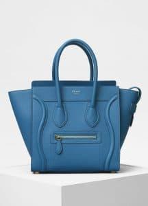 Celine Teal Blue Baby Drummed Calfskin Micro Luggage Bag