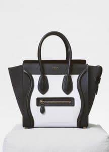 Celine White/Liquorice Baby Grained Calfskin Micro Luggage Bag