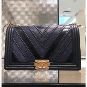 Chanel Chevron Mix Leather Boy Bag