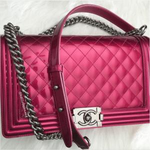 Chanel Metallic Patent Boy Bag 2