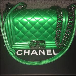 Chanel Metallic Patent Boy Bag