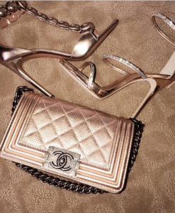 Chanel Rose Gold Perforated Boy Bag 2