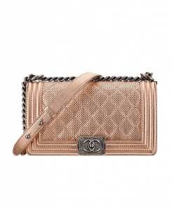 Chanel Rose Gold Perforated Boy Bag