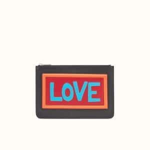 Fendi Black Leather Love Thin Pouch Bag