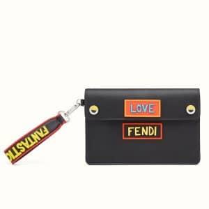 Fendi Black Vocabulary Leather Clutch Bag