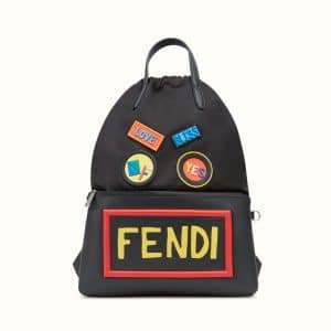Fendi Black Vocabulary/Faces Drawstring Backpack Bag