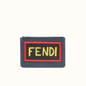 Fendi Blue Leather Vocabulary Thin Pouch Bag