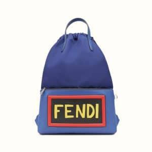Fendi Cobalt Blue Vocabulary Drawstring Backpack Bag