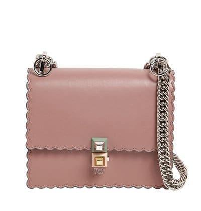 Fendi Kan I Small Scalloped Leather Bag