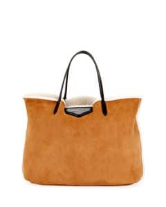 Givenchy Beige Shearling Fur Antigona Shopper Tote Bag