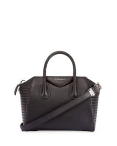 Givenchy Black Biker-Stitched Small Antigona Bag