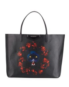 Givenchy Black/Red Jaguar Print Antigona Large Shopper Tote Bag