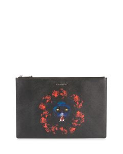 Givenchy Black/Red Jaguar Print Large Pouch Bag