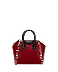 Givenchy Dark Red Snake-Trim Mini Antigona Bag