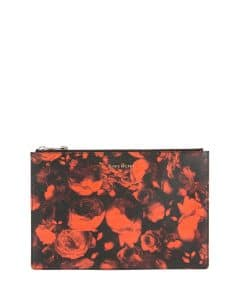Givenchy Red Rose Print Medium Pouch Bag
