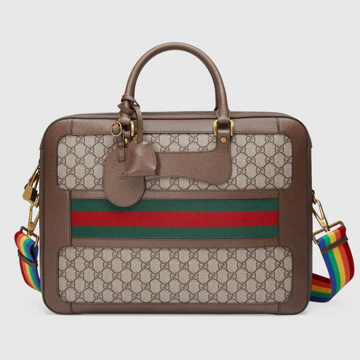 Gucci Beige Ebony Gg Supreme Web Briefcase Bag