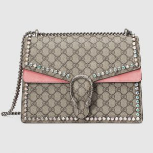 Gucci Beige/Ebony GG Supreme with Crystals Dionysus Medium Shoulder Bag