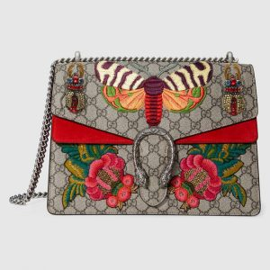 Gucci Beige/Ebony Moth Embroidered GG Supreme Dionysus Medium Shoulder Bag
