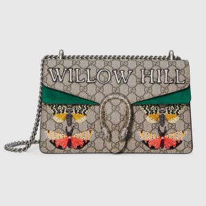 Gucci Beige/Ebony Willowhill Embroidered GG Supreme Dionysus Small Shoulder Bag