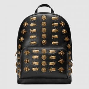 Gucci Black Animal Studs Backpack Bag