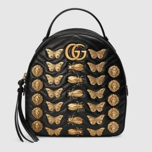Gucci Black Animal Studs GG Marmont Backpack Bag