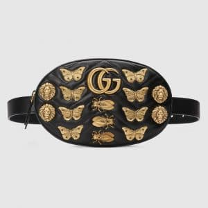 Gucci Black Animal Studs GG Marmont Belt Bag