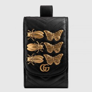 Gucci Black Animal Studs GG Marmont Belt Pouch Bag