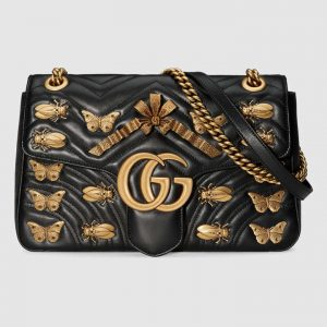 Gucci Black Animal Studs GG Marmont Medium Shoulder Bag