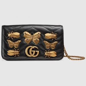 Gucci Black Animal Studs GG Marmont Mini Bag